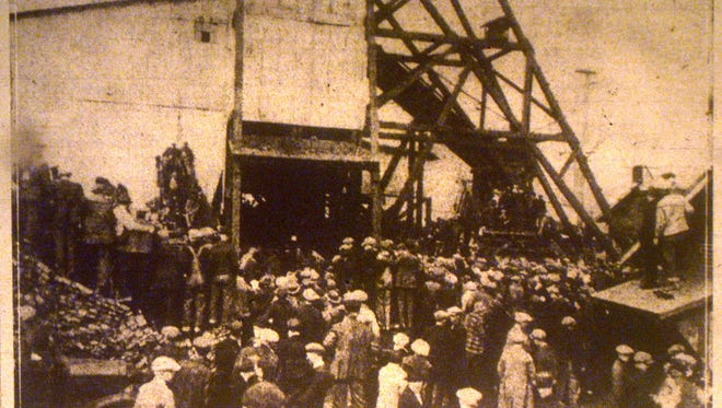 Photograph taken shortly after the explosion of the City Coal Co. Mine at Sullivan, Ind. on Friday, Feb. 20, 1925, shows the scene where 51 men lost their lives. Thousands of people crowded around the shaft near where the explosion occurred as soon as the news spread. Photo from Indianapolis Star (published Feb. 21, 1925)