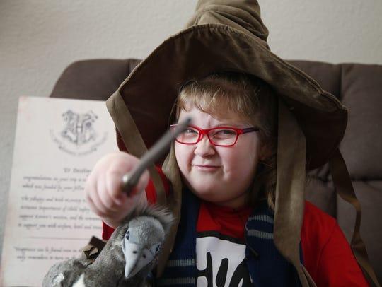 Destiny Carroll, 8, a huge Harry Potter fan, was surprised