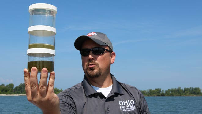 Chris Winslow, director of Ohio State's Stone Laboratory and Ohio Sea Grant, examines three water samples from Lake Erie, comparing varying levels of harmful algal blooms.