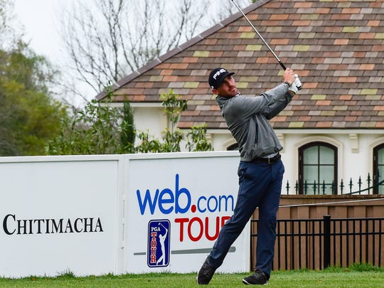 Matt Fast hitting tee shot during the third round golf from the 2016 Chitimacha Louisiana Open Presented by NACHER at Le Triomphe Golf and Country Club. March 9, 2016.