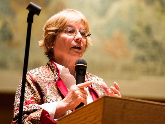 Susan Williams voices her concerns during a Palmyra