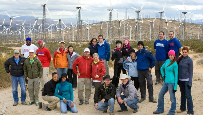 "In this undated publicity image released by CBS, 11 teams who competed in previous editions of ""The Amazing Race,""  are shown at a wind farm in Palm Springs, Calif. The teams are returning for the latest edition of the reality competition series, ""The Amazing Race: Unfinished Business,"" premiering, Sunday, Feb. 20, 2011, on CBS. (AP Photo/CBS, Robert Voets) NO SALES; NO ARCHIVE; MANDATORY CREDIT; NORTH AMERICAN USE ONLY"