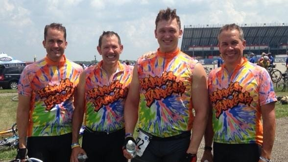 The annual Wish-A-Mile 300-mile bicycle tour begins Friday and four members of the WAMmer Jammers Team planning to participate include (from left) Geoffrey Marshall, Stuart Baskin, Adam Clous and Brian Barr.
