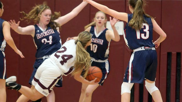 Eastchester defeated Harrison 65-62 in a girls varsity