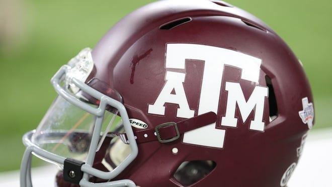 A view of a Texas A&M Aggies helmet.