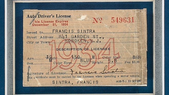 Frank Sinatra?'s 1934 New Jersey Driver?s License is photographed. The Star-Ledger of Newark, N.J. reports at that the yellowed, text-only license will be offered at auction on Tuesday, June 24, 2014 by Boston-based RR Auction.