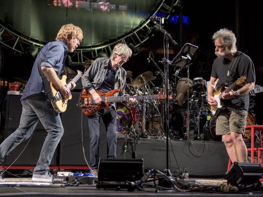 Trey Anastasio (left) joins  Phil Lesh and Bob Weir at the Grateful Dead Fare Thee Well Show at Levi's Stadium on June 27, 2015, in Santa Clara, Calif.