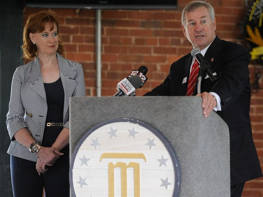 Sherrie Myers and Mayor Todd Strange announce Montgomery will host the 2015 Southern League All-Star Game.  Mickey WelsH/Advertiser Montgomery Biscuits owner Sherrie Myers and Montgomery Mayor Todd Strange announce that the Southern League All-Star Game on Tuesday June 23, 2015 will be held at Riverwalk Stadium in Montgomery, Ala. during a press conference at the stadium on Tuesday July 15, 2014.