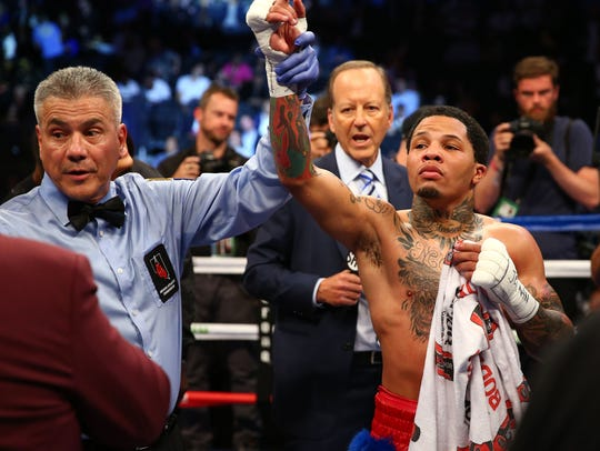 Gervonta Davis reacts to his victory by knockout against