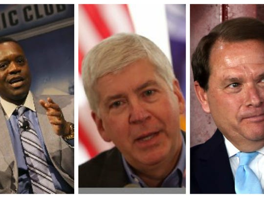 Collage of former Detroit Emergency Manager Kevyn Orr (left), Michigan Gov. Rick Snyder (center) and Judge Bernard Rosen (right), who negotiated the Grand Bargain as Detroit moved to exit bankruptcy.