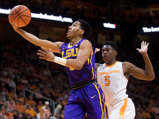 LSU guard Tremont Waters (3) attempts a shot during