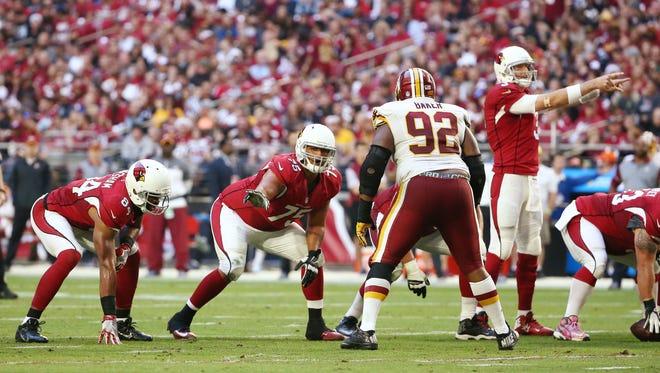 Arizona Cardinals guard (75) Ulrick John against the Washington Redskins in the second half on Dec. 4, 2016 in Glendale, AZ.