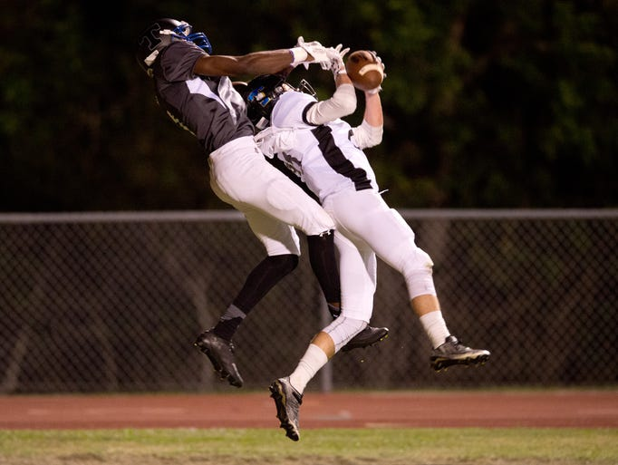 Space Coast's Cameron Sorg intercepts a ball in the