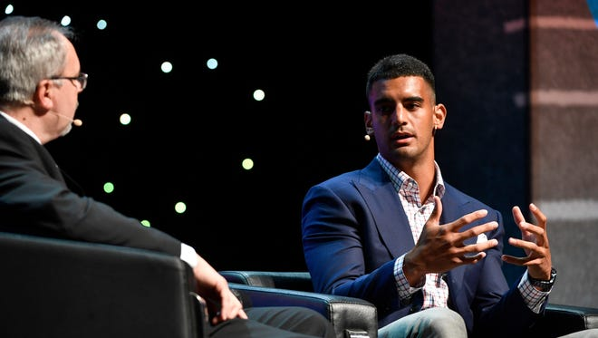 Sports Director Dave Ammenheuser interviews Titans quarterback Marcus Mariota at The Tennessean Sports Awards presented by Farm Bureau Health Plans at the Tennessee Performing Arts Center's Andrew Jackson Hall on Tuesday, June 6, 2017.
