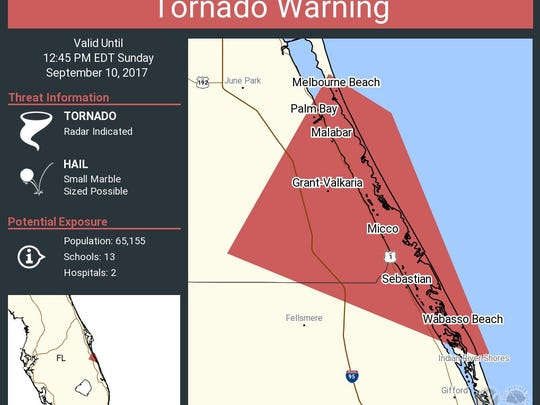 The latest tornado warning from the National Weather Service in Melbourne.