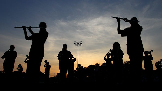 The Wade Hampton marching band performs before the start of the game against Eastside at Wade Hampton High School on Friday night, September 9, 2016.