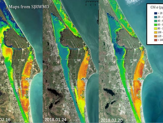 Recent satellite photos show the Indian River Lagoon