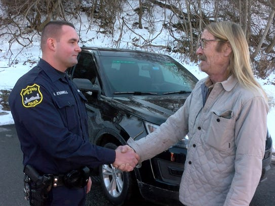 Highlands Police officer Kevin O'Donnell gets to meet