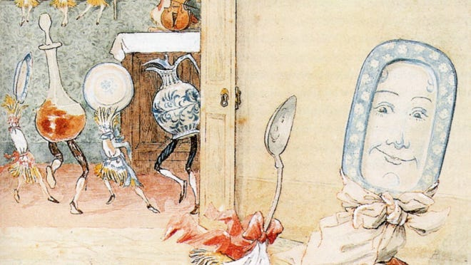 "An illustration of ""And the Dish Ran Away with the Spoon"", from ""Hey Diddle Diddle and Bye, Baby Bunting."""