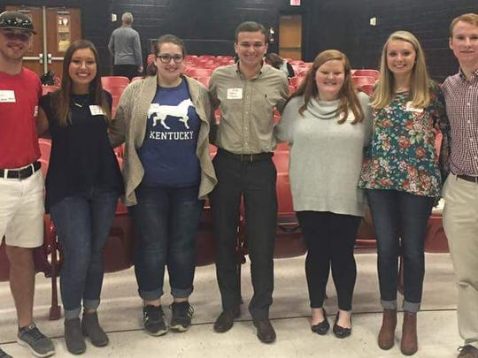 A group of young Republicans attended Tuesday evening's reorganization meeting. From left are Addison Watson, Imara Peralta, Kelsey Nobles, J.T. Payne, Jayda Polivick, Kelly McIndoo and Isaac Oettle. Addison, Imara, Jayda, Kelly, J.T. are all Murray State University Students. Isaac is Henderson County High School Senior.  Kelsey Nobles is Henderson Community College Student