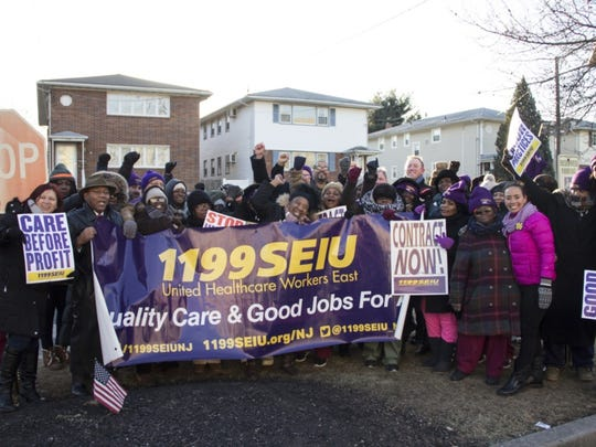 Workers held a 24-hour strike Monday at the AristaCare at Delaire nursing home in Linden.