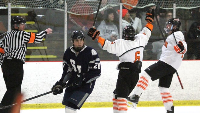 Colin Bilek, center, and Zach Vitkuske, right, celebrate Vitkuske's goal in the second period of Brighton's 6-3, come-from-behind victory over South Lyon.