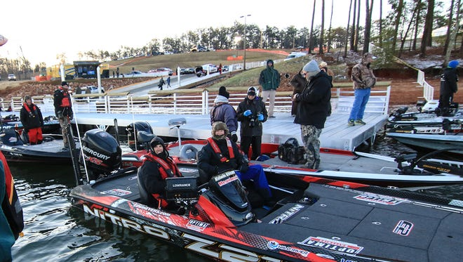 Several 2015 Geico Bassmaster Classic participants get ready to leave Green Pond Landing on Hartwell Lake in Anderson County.