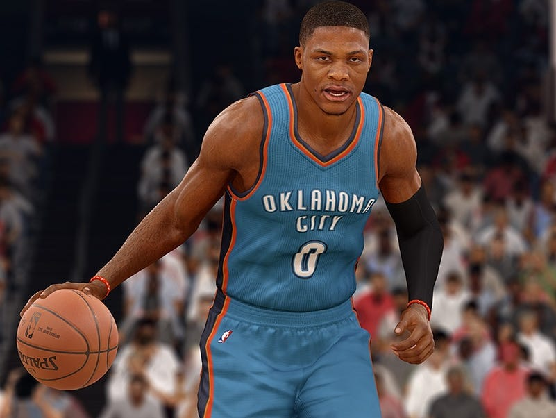 Oklahoma City Thunder star Russell Westbrook appears in a screenshot from the game 'NBA Live 16.'