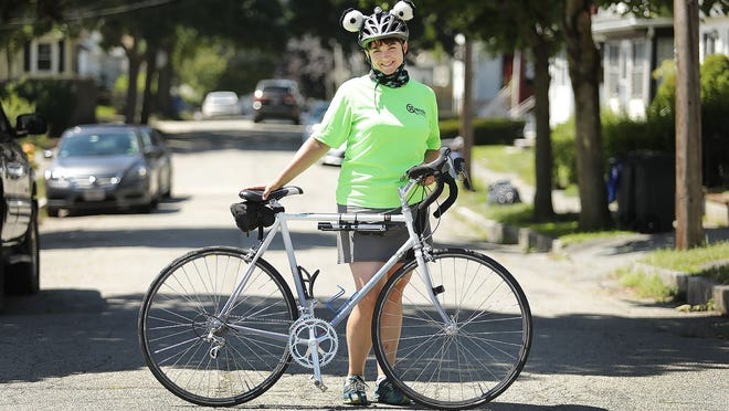 Irene Lutts, of Quincy, rode more than 400 miles on city streets in the month of July.