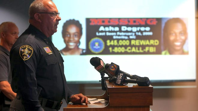 Cleveland County Sheriff Alan Norman speaks on the use of CARD, or Child Abduction Rapid Deployment team, in the investigation of Asha Degree during a 2020 press conference.