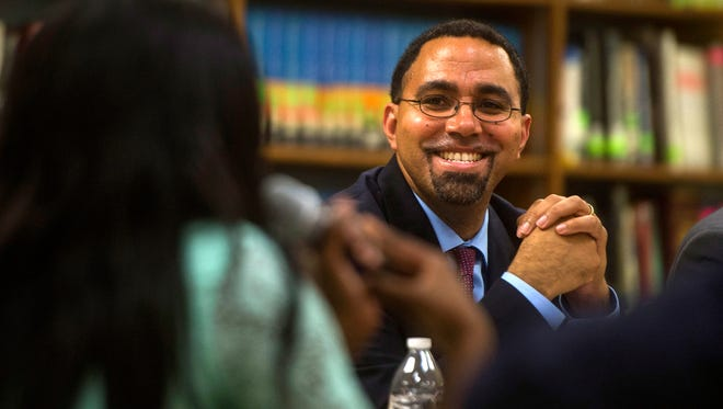 Secretary of Education John B. King Jr. participates in a round table discussion at Northwestern High School in Flint on Oct. 7, 2016.