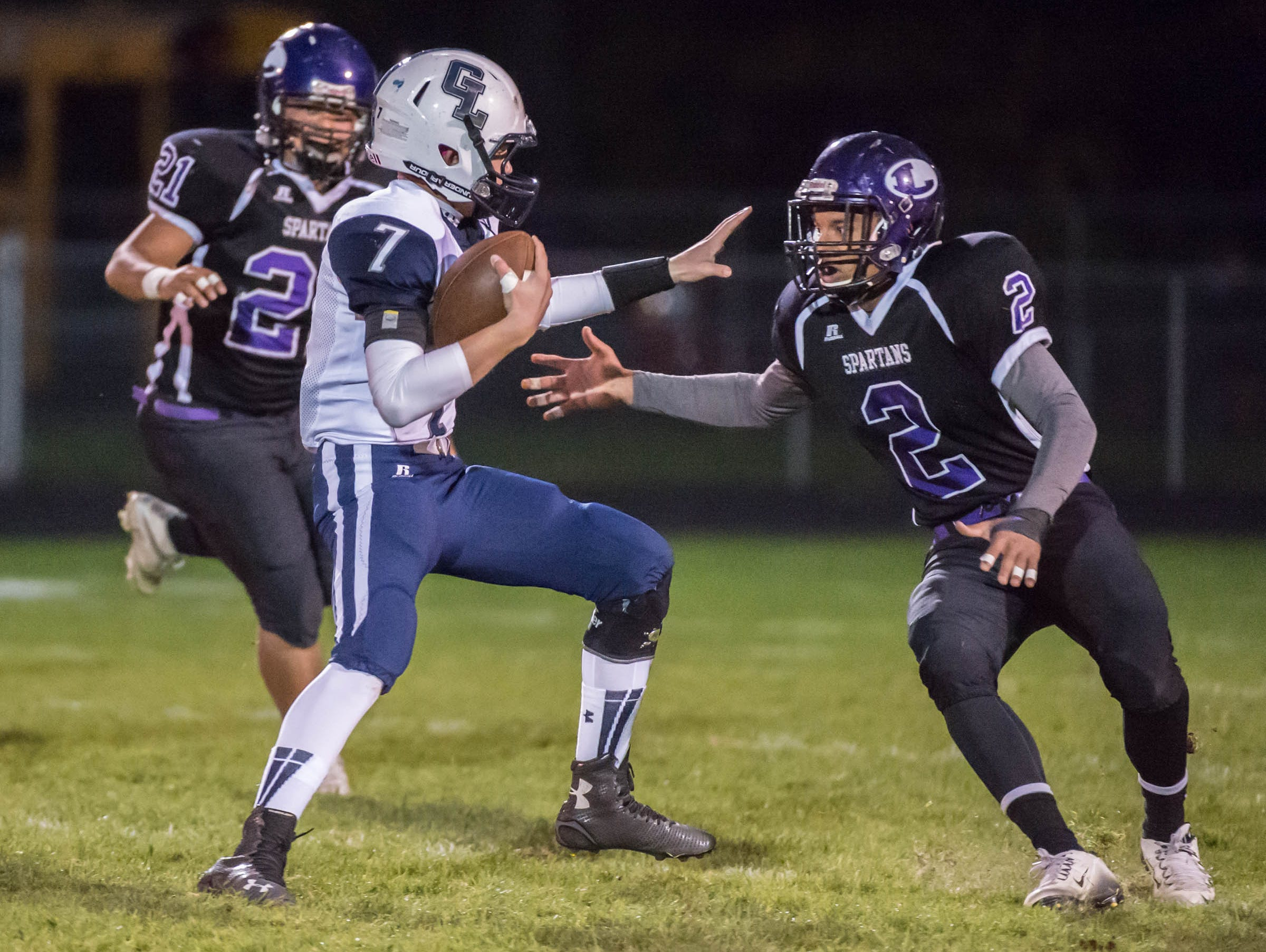 Lakeview's Justyn Jones (2) goes after Gull Lake's Hunter Snyder (7) during Friday's agme against Lakeview.