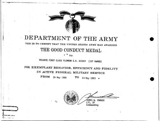 Ron Dickey's Good Conduct citation from the Department of the Army.