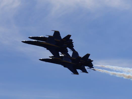 The United States Navy Blue Angels perform a practice