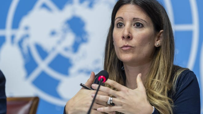 Maria van Kerkhove, Head of the Outbreak Investigation Task Force for World Health Organization (WHO), speaks to the media about the Situation regarding the new Coronavirus, during a press conference at the European headquarters of the United Nations in Geneva, Switzerland, Wednesday, Jan. 29, 2020.
