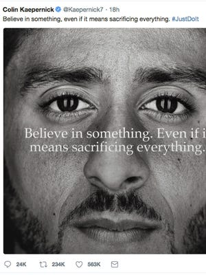 """This image taken from the Twitter account of the former National Football League player Colin Kaepernick shows a Nike advertisement featuring him that was posted Monday, Sept. 3, 2018. Kaepernick already had a deal with Nike that was set to expire, but it was renegotiated into a multi-year deal to make him one of the faces of Nike's 30th anniversary """"Just Do It"""" campaign, according to a person familiar with the contract. (Twitter via AP)"""
