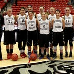 The Southwest Missouri all-stars team for the 2015 Missouri Challenge. From left, front row: Kelsie Cleeton (Hillcrest), Toshua Leavitt (Nixa), Cassidy Johnson (West Plains). Second row: assistant coach Julie Garrett (Stockton), Desirea Buerge (Webb City), Brynlee McPherson (Carl Junction), Madison Campbell (Bolivar), Josie Young (Marionville), Sydnee Garrett (Stockton), Morgan Henderson (Buffalo) and coach Jeni Hopkins (Hillcrest).