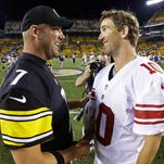New York Giants quarterback Eli Manning, right, will replace injured Pittsburgh Steelers quarterback Ben Roethlisberger, left, in the Pro Bowl.