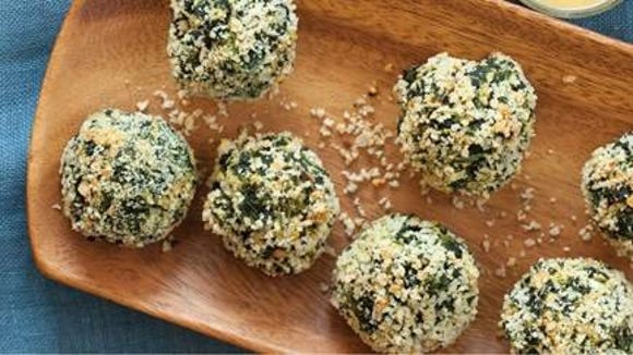Spinach bites are a healthy snack. You might get a free one if you visit Whole Foods this weekend.