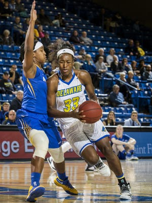 Delaware's Nicole Enabosi, seen here against Hostra, nothed her 14th double-double of the season in the Blue Hens' loss to Elon on Friday.