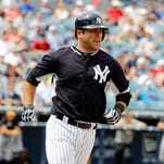 Austin Romine, shown here during a spring training game with the New York Yankees in April, drove in six runs against the Red Wings on Thursday.