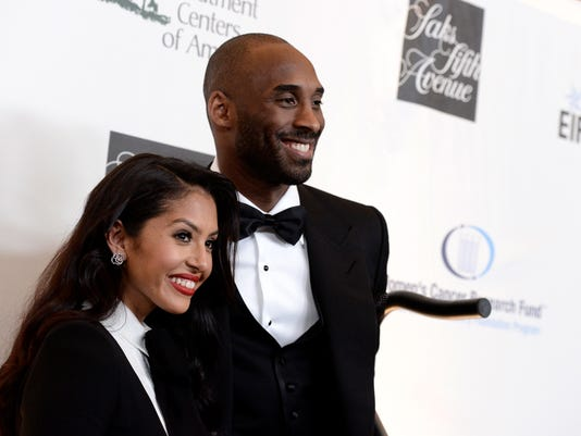 """FILE - In this May 2, 2013, file photo, Lakers guard Kobe Bryant, right, and his wife Vanessa Bryant arrive at """"An Unforgettable Evening"""" benefiting EIF's Women's Cancer Research Fund at The Beverly Wilshire in Beverly Hills, Calif. Kobe Bryant revealed on Instagram July 12, 2016, that the couple is expecting another baby. (Photo by Dan Steinberg/Invision/AP, File)"""