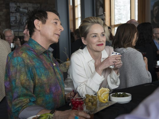 Paul Reubens as JC and Sharon Stone as Oliva Lake on 'Mosaic.'