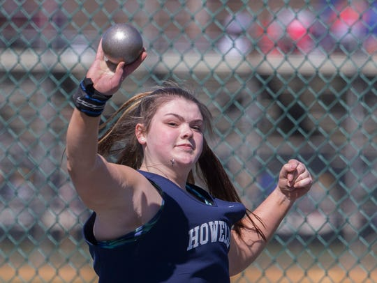 Howell's Bryanna Wilson competes in shot put.