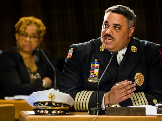 Wilmington Fire Chief Anthony Goode discusses the proposed budget for the department during a meeting of the Wilmington City Council Finance Committee on Wednesday evening.