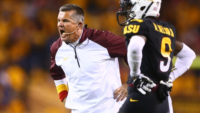 Arizona State Sun Devils head coach Todd Graham react in the second quarter against the Arizona Wildcats in the 87th annual Territorial Cup at Sun Devil Stadium.