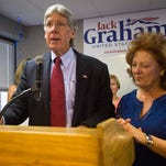 Republican U.S. Senate candidate Jack Graham is joined by his wife, Ginger, as he gives a concession speech to his supporters during a watch party at his campaign headquarters in Denver Tuesday, June 28, 2016. Graham expressed support for his opponent Darryl Glynn.