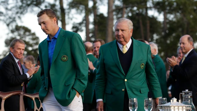 Jordan Spieth arrives for the green jacket ceremony after the final round of the 2016 The Masters golf tournament at Augusta National Golf Club.