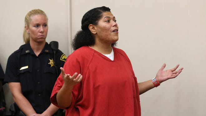 Rochester City Court Judge Leticia Astacio addresses the court during her sentencing for violating the terms of her 2016 drunk driving conviction Thursday, July 6, 2017.