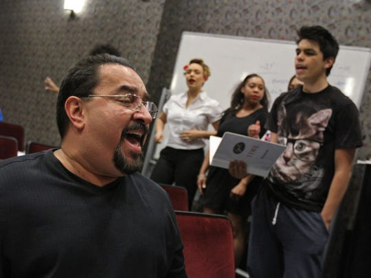 """Marcial Montalvo sings his part as he rehearses with a Community Theater production of """"Soul Time"""" at Raritan Bay Area YMCA. """"Soul Time"""" will be performed Friday and Saturday, May 8-9, at 7 p.m. at the YMCA Theater, 357 New Brunswick Ave., Perth Amboy.  $10 tickets are available at the door on a first-come basis; to reserve seats, contact: (732) 376-1566, or suzan31@aol.com."""
